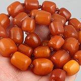 清代 44.12克 天然 蜜蜡 桶珠 精品 项链。