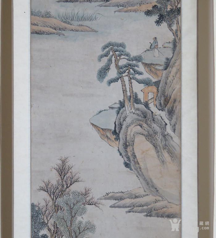 清代   无款小写意带彩山水人物四条屏『聚古斋』图3