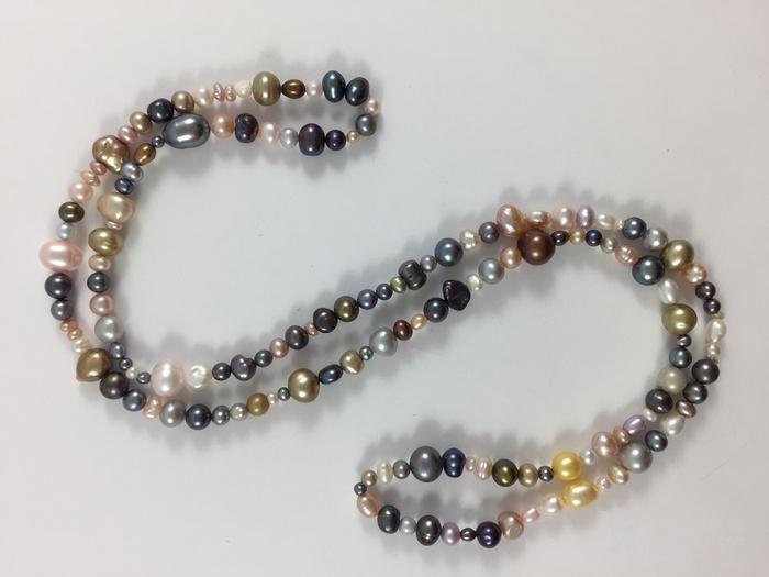 美国回流兴业坊 天然多彩淡水珍珠特长项链。78厘米图7