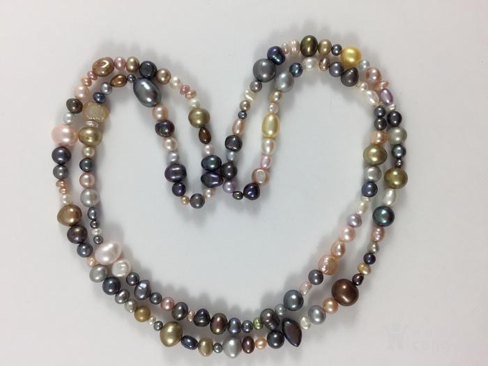 美国回流兴业坊 天然多彩淡水珍珠特长项链。78厘米图1