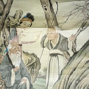 保真(假一赔三)清,倪田作/工笔淡彩:麻姑献寿图(四尺)中堂
