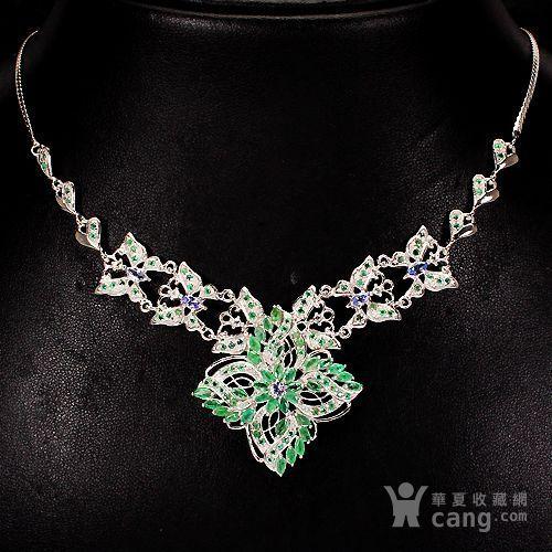 祖母绿坦桑石银项链 天然祖母绿坦桑石925银镀14K金项链图1