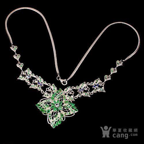 祖母绿坦桑石银项链 天然祖母绿坦桑石925银镀14K金项链图2