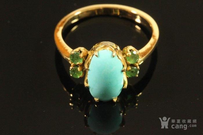 欧洲老首饰 绿松石祖母绿18K黄金戒指 古典雅致手饰图1