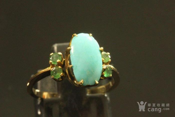 欧洲老首饰 绿松石祖母绿18K黄金戒指 古典雅致手饰图2