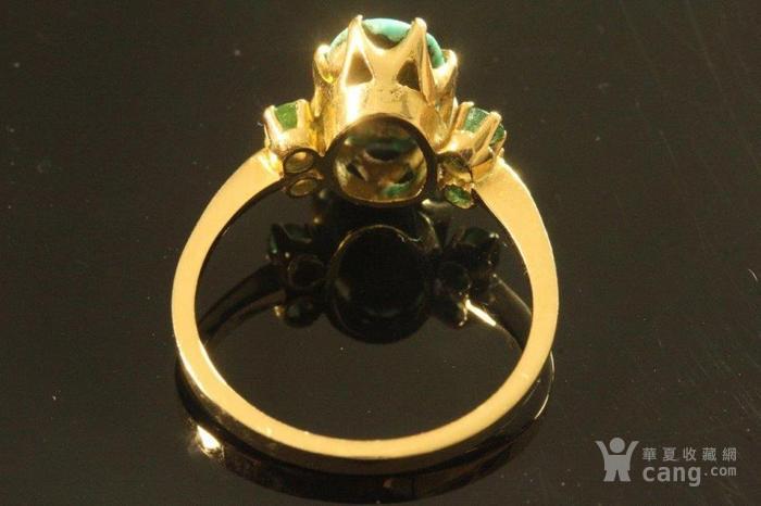 欧洲老首饰 绿松石祖母绿18K黄金戒指 古典雅致手饰图3