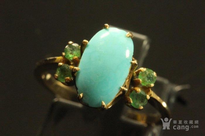 欧洲老首饰 绿松石祖母绿18K黄金戒指 古典雅致手饰图4