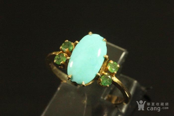 欧洲老首饰 绿松石祖母绿18K黄金戒指 古典雅致手饰图5