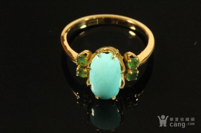 欧洲老首饰 绿松石祖母绿18K黄金戒指 古典雅致手饰图6