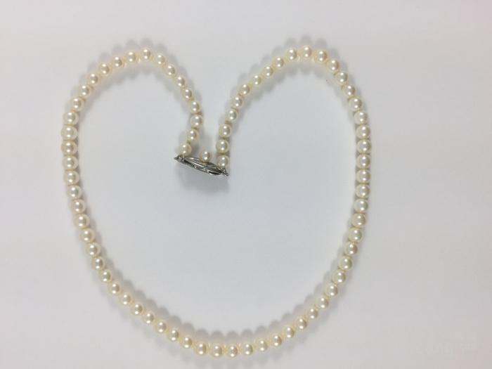 (美国回流兴业坊)天然日本【海水】珍珠项链纯银扣(国内现货)图1