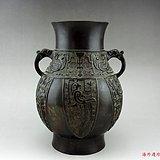 清中期 仿商周器饕餮纹瑞兽耳铜尊