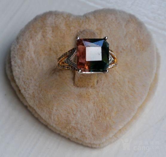 西瓜碧玺戒指 天然西瓜碧玺镶南非钻石18K金女款钻戒图1