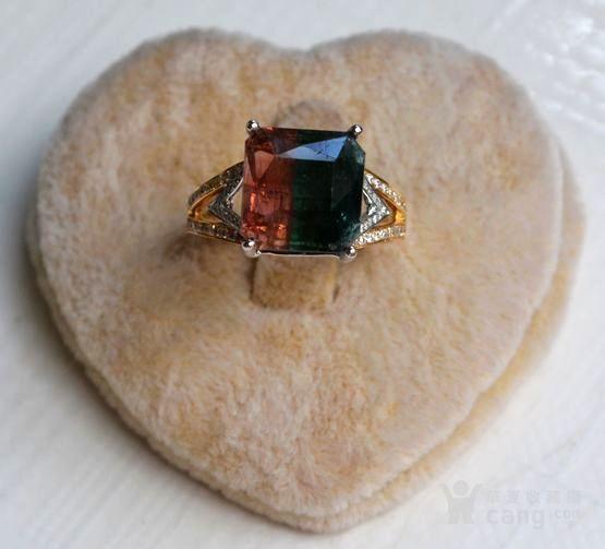 西瓜碧玺戒指 天然西瓜碧玺镶南非钻石18K金女款钻戒图2