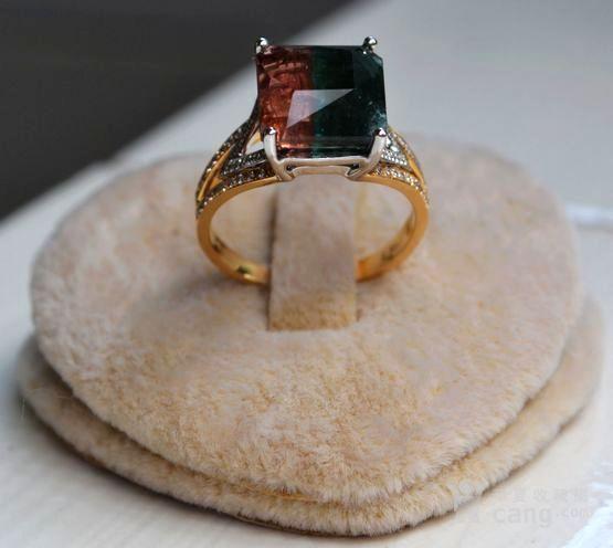 西瓜碧玺戒指 天然西瓜碧玺镶南非钻石18K金女款钻戒图5