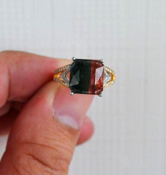 西瓜碧玺戒指 天然西瓜碧玺镶南非钻石18K金女款钻戒图8