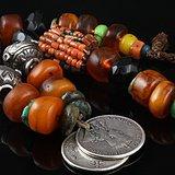 原汁原味 17/18 世纪 印第安 风格 蜜蜡 项链。