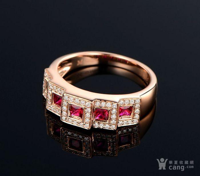 红宝石女戒 天然缅甸抹谷红宝石镶南非钻石18K金女款戒指图2