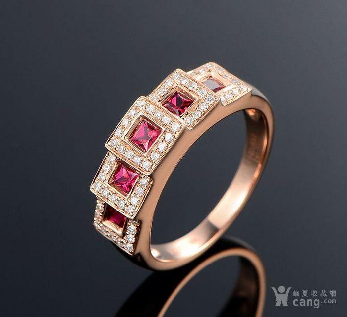 红宝石女戒 天然缅甸抹谷红宝石镶南非钻石18K金女款戒指图1