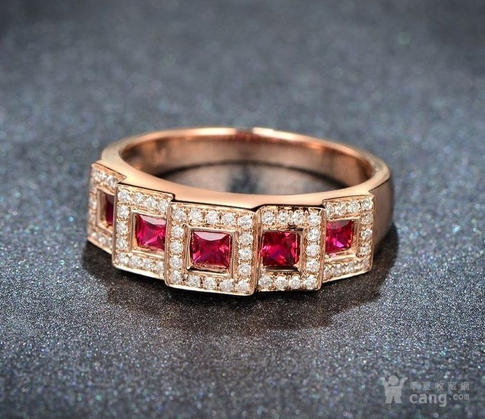 红宝石女戒 天然缅甸抹谷红宝石镶南非钻石18K金女款戒指图5