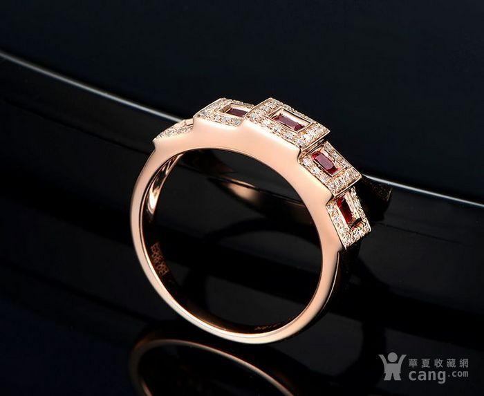 红宝石女戒 天然缅甸抹谷红宝石镶南非钻石18K金女款戒指图3