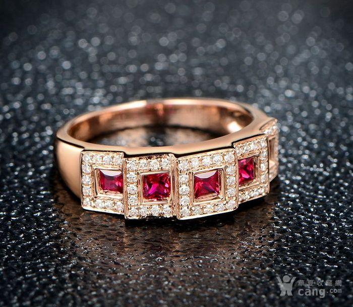 红宝石女戒 天然缅甸抹谷红宝石镶南非钻石18K金女款戒指图6