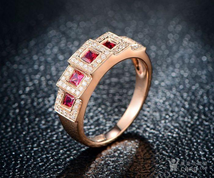 红宝石女戒 天然缅甸抹谷红宝石镶南非钻石18K金女款戒指图7