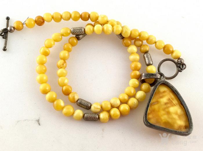 天然波罗的海蜜蜡圆珠吊坠项链