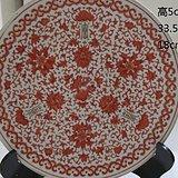 清中期泛红花卉纹大盘 全品