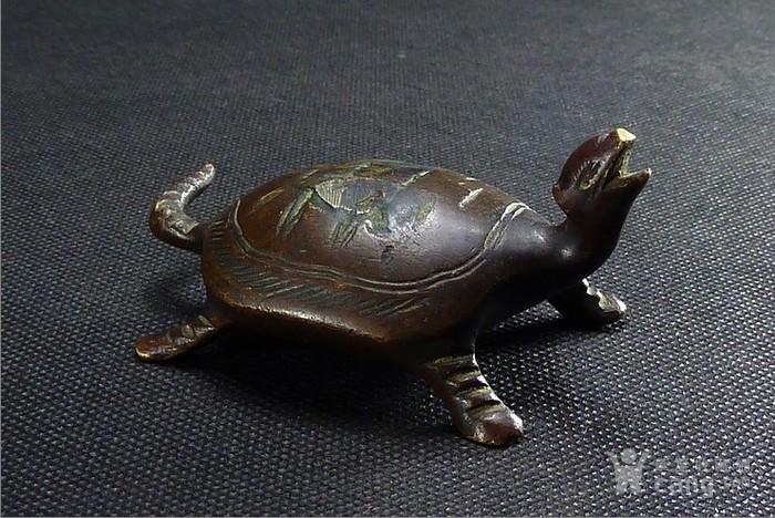 清代文房老铜龟镇纸摆件-图1