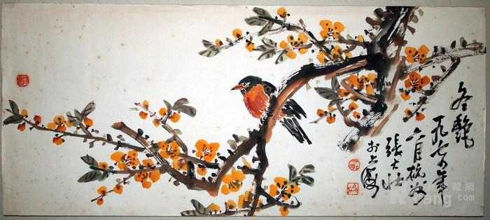 现代四大花鸟画家-张大壮-《冬艳》图1