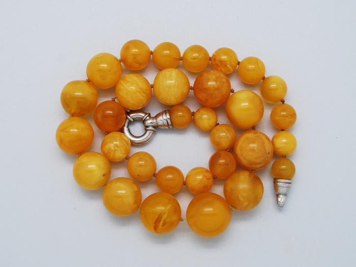 天然 蜜蜡圆珠项链 b150图1