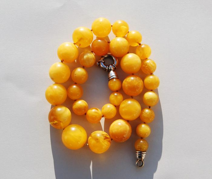 天然 蜜蜡圆珠项链 b150图5
