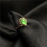 【玉格格】L107女戒18K金伴钻镶冰种满绿老翡翠戒指