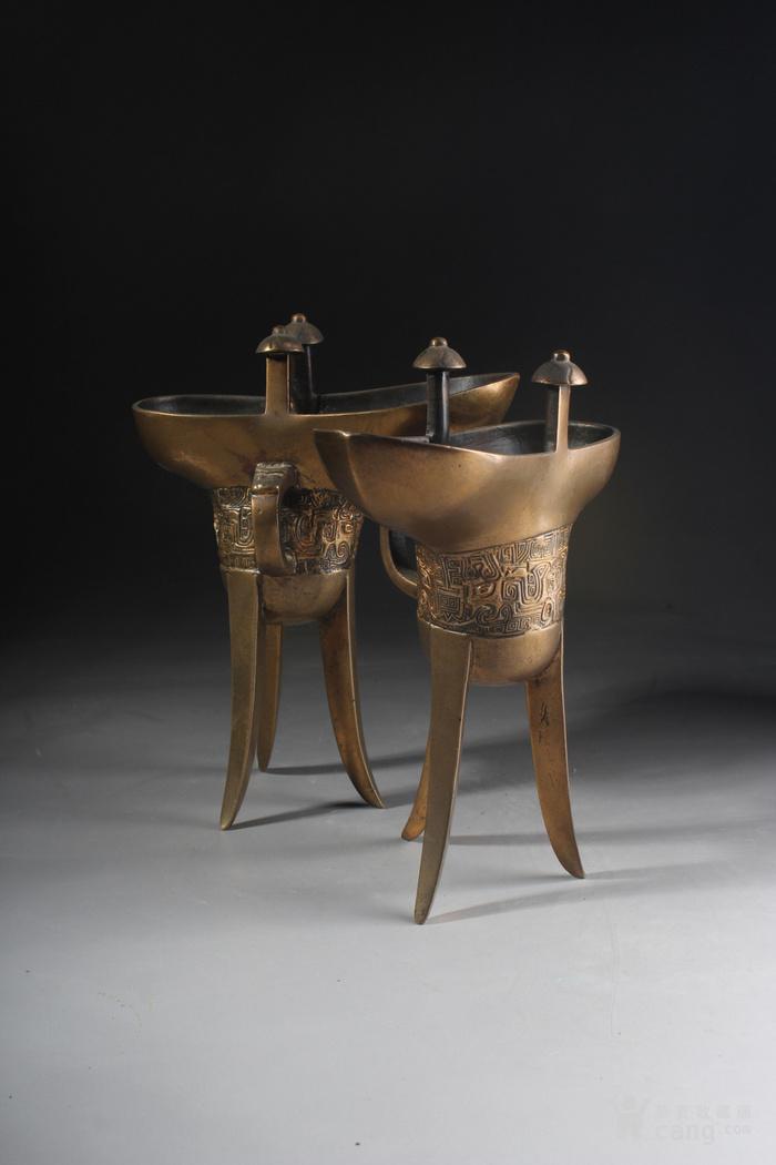 明代铜鎏金爵杯一对-图1