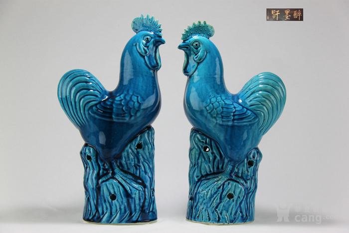 40公分高清末民国瓷塑精品孔雀蓝釉大公鸡一对【醉墨轩】-图1