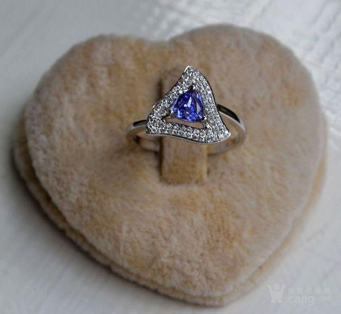 坦桑石女戒 天然坦桑石镶南非钻石18K白金女款戒指图1