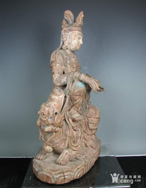 明代木雕普贤菩萨坐狮佛像一尊图2
