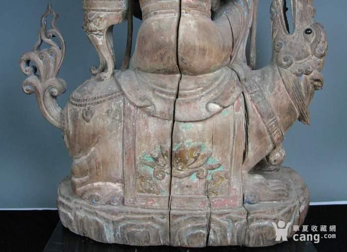 明代木雕普贤菩萨坐狮佛像一尊图7