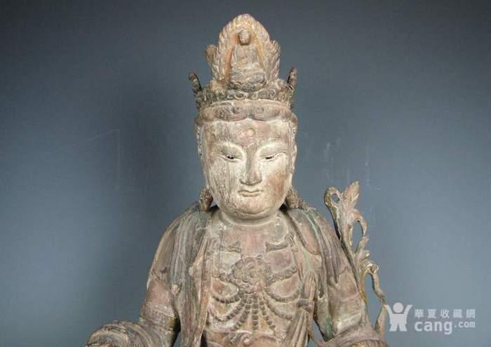 明代木雕普贤菩萨坐狮佛像一尊图4