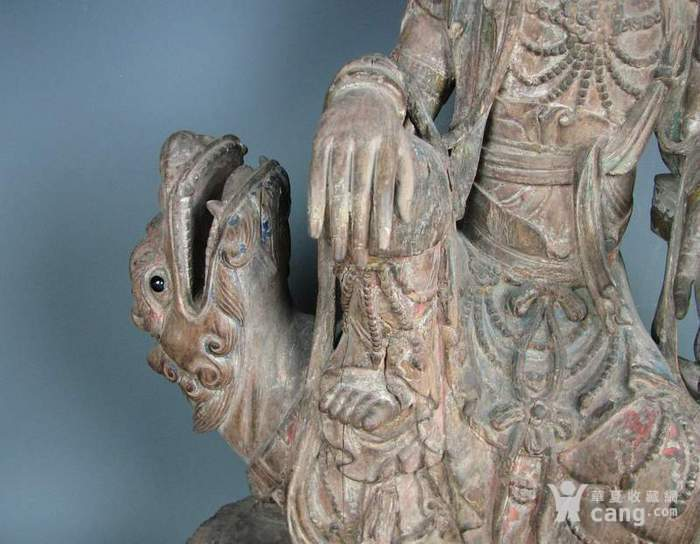 明代木雕普贤菩萨坐狮佛像一尊图6