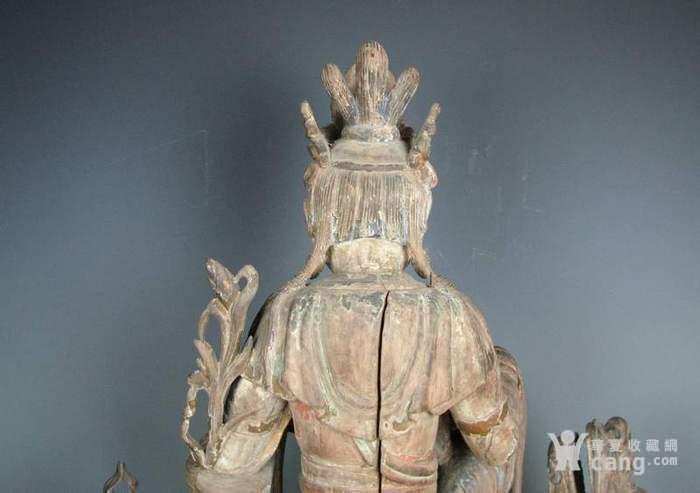 明代木雕普贤菩萨坐狮佛像一尊图10