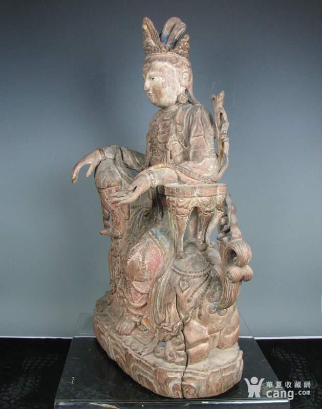 明代木雕普贤菩萨坐狮佛像一尊图3