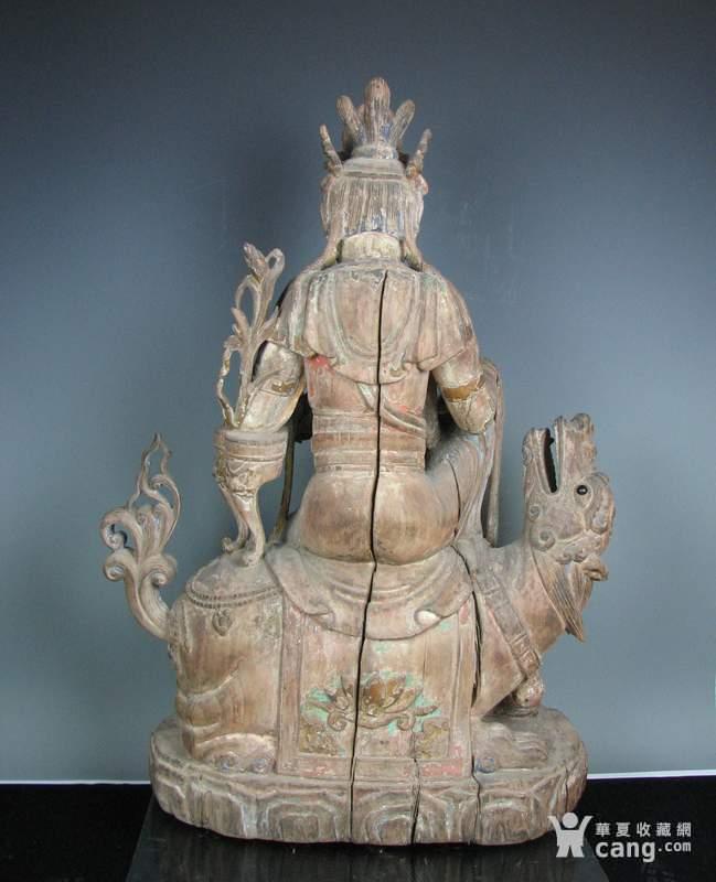 明代木雕普贤菩萨坐狮佛像一尊图5