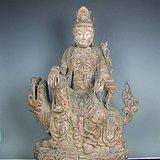 明代木雕普贤菩萨坐狮佛像一尊