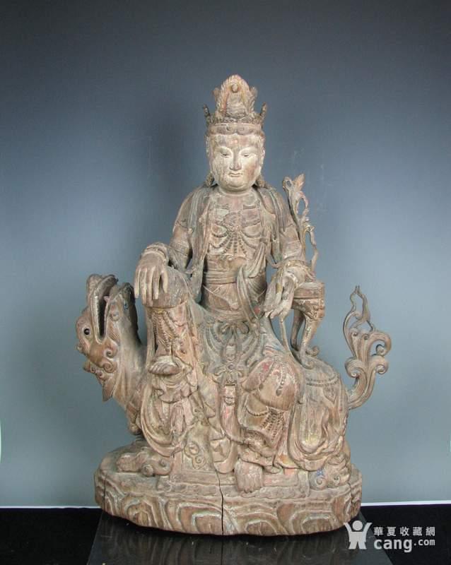 明代木雕普贤菩萨坐狮佛像一尊图1