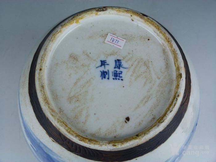 """清晚期哥釉青花人物""""三娘教子""""大罐(带盖)图9"""