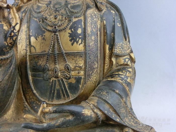 清早期铜漆金观音图4