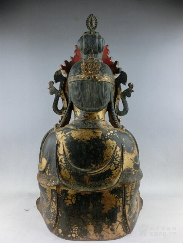 清早期铜漆金观音图7