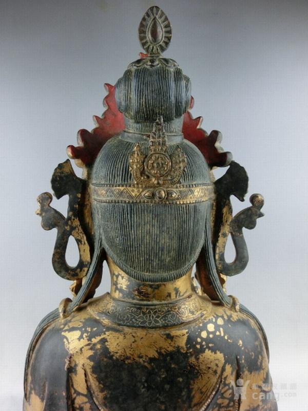 清早期铜漆金观音图8