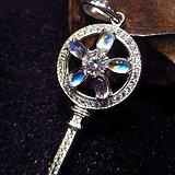 斯里兰卡玻璃体蓝月光!豪镶满钻纯天然彩月光石爱之钥匙水晶吊坠